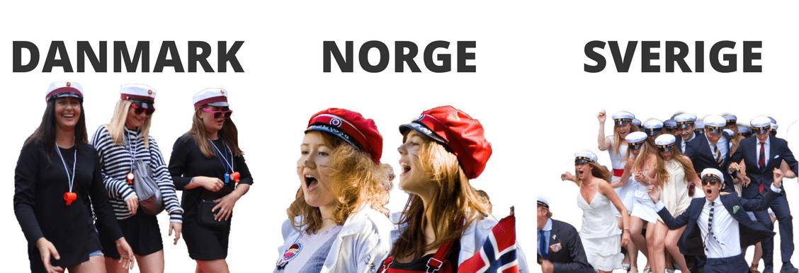 Nyere billede af unge studenter fra Danmark, Norge og Sverige opsat ved siden af hinanden.