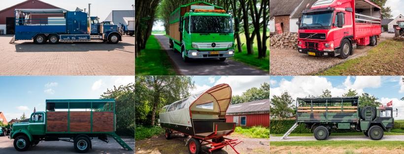 Billede af forskellige typer lastbiler til studenterkørsel
